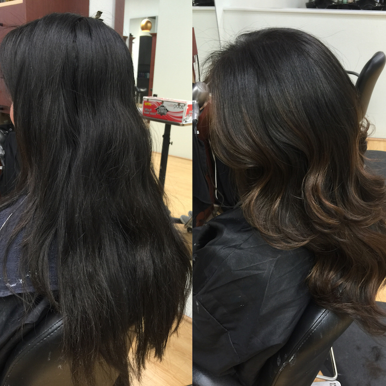 Newport Beach Hair Stylist Black Hair With Dark Brown Ash Balayage