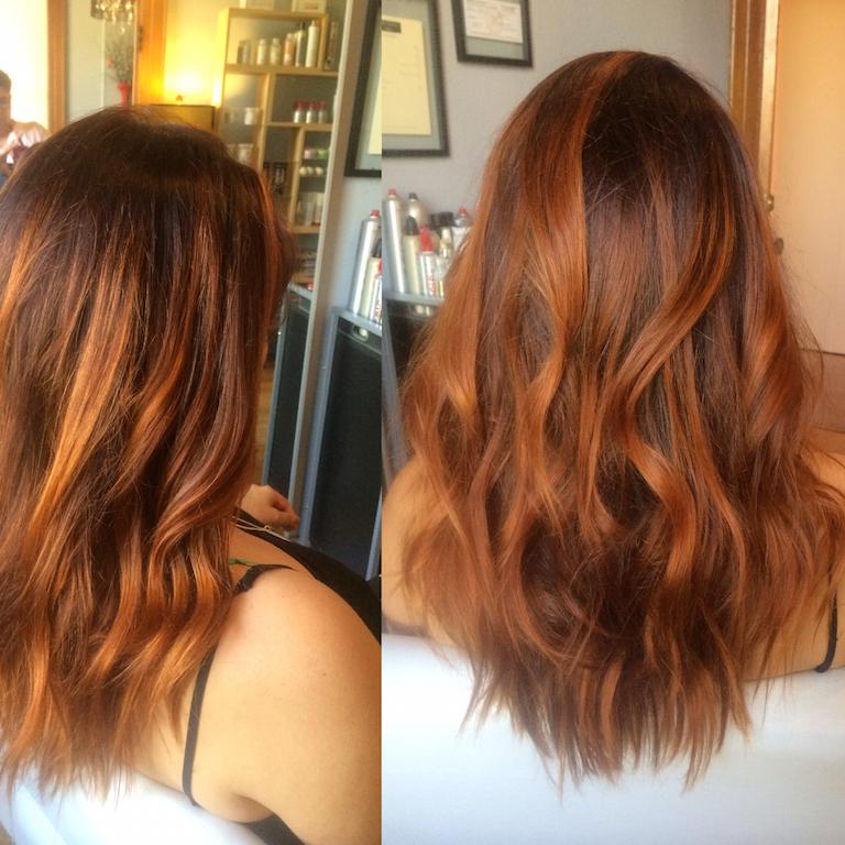Newport Beach Hair Stylist Copper Red Rust Balayage